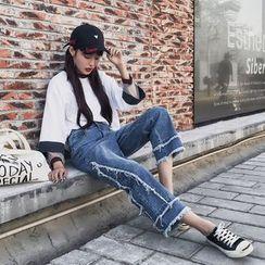 Jeans Kingdom - Frayed Wide Leg Jeans