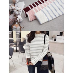 hellopeco - Mock-Neck Striped Knit Top