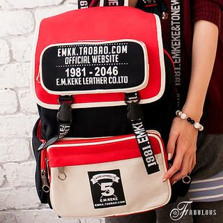 B.B. HOUSE - Color-Block Buckled Canvas Backpack
