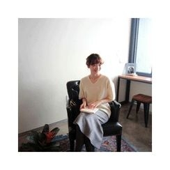 LEELIN - V-Neck Wool Blend Knit Top
