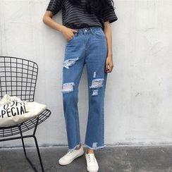 Jeans Kingdom - 做旧直筒牛仔裤