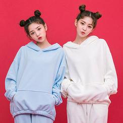 chuu - Set: Hooded Polar-Fleece Pullover + Sweatpants