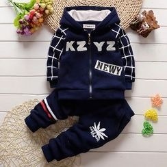 POMME - Kids Set: Lettering Hooded Jacket + Pants