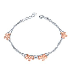 MaBelle - 14K Rose And White Gold Diamond Cut Puppy Dog Bracelet (17.5cm)
