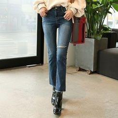 DABAGIRL - Slit-Knee Washed Straight-Cut Jeans