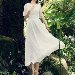 MUSI - Lace Trim Midi Chiffon Dress