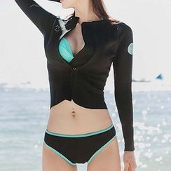 DJ Design - Set: Tipped Bikini + Zip Rashguard