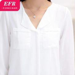 Eferu - Long-Sleeve Chiffon Blouse