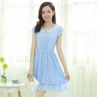 Aierys - Beaded Collar Lace Panel Chiffon Dress
