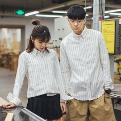 Simpair - Pinstriped Couple Matching Shirt