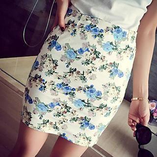 Rocho - Floral Bodycon Skirt