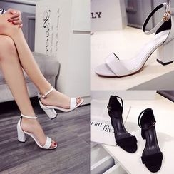 Romantina - Block Heel Ankle Strap Sandals