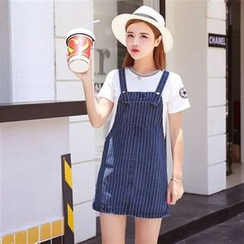 Everose - Distressed Denim Suspender Dress