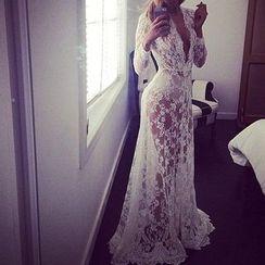 Katemi - Deep V-Neck Lace Evening Dress