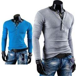 Hansel - Brushed V-Neck Long-Sleeved T-Shirt