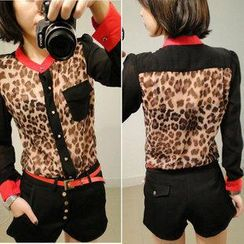 LIVA GIRL - Leopard Print Panel Shirt