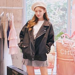 chuu - Loose-Fit Faux-Leather Biker Jacket