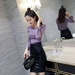 RUI - Faux Leather Pencil Skirt