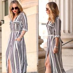 Saranghae - Striped Slit Maxi Shirtdress