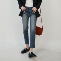 Vintage Vender - Washed Straight-Cut Jeans