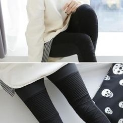GLAM12 - Brushed Fleece-Lined Textured Leggings