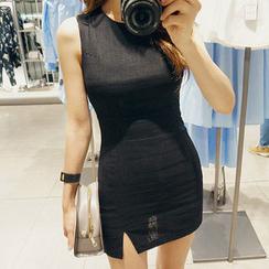chuu - Sleeveless Linen Blend Bodycon Dress