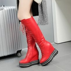 JY Shoes - Wedged Lace-Up Tall Boots