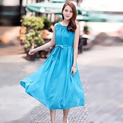 Eferu - Sleeveless Midi Chiffon Dress