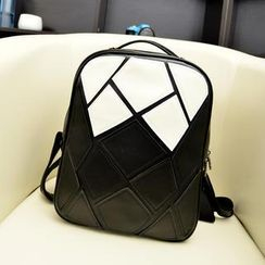 Bibiba - Color-Block Faux Leather Backpack