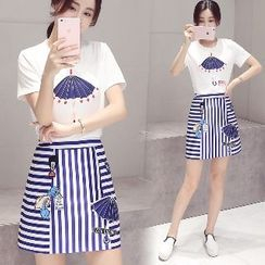 Romantica - Set: Short-Sleeve Printed T-Shirt + Striped Embroidered A-Line Skirt