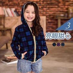 OrangeBear - Kids Patterned  Fleece Hooded Jacket