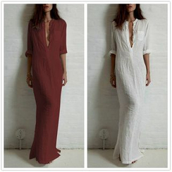 Katemi - Long-Sleeve Deep V-Neck Maxi Dress