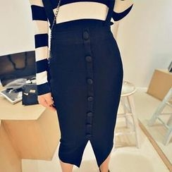 Jack Grace - Buttoned Suspenders Knit Pencil Skirt