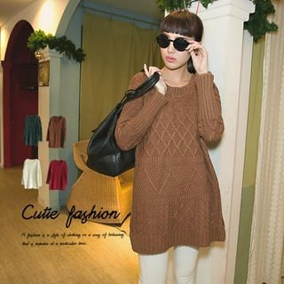 CUTIE FASHION - Patterned Long Sweater