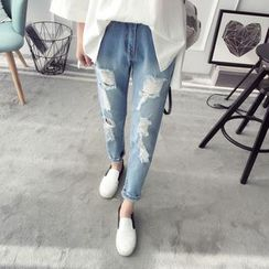 Qimi - Distressed Washed Jeans
