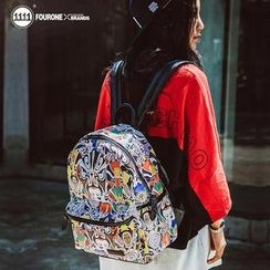 Fourone - Chinese Mask Print Faux Leather Backpack
