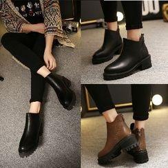 Mancienne - Chunky-Heel Platform Zip-Back Ankle Boots