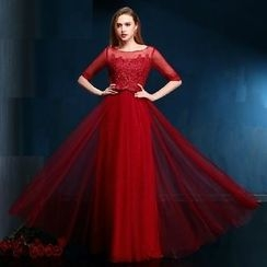 Luxury Style - Elbow-Sleeve Lace Appliqué A-Line Evening Gown