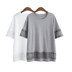 GRACI - Short-Sleeve Lace Trim T-Shirt