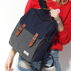 Mr.ace Homme - Buckled Color-Block Canvas Backpack