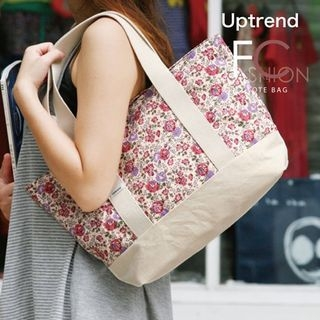 Uptrend - Floral-Print Canvas Tote