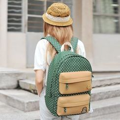 SUPER LOVER - Dotted Applique Canvas Backpack