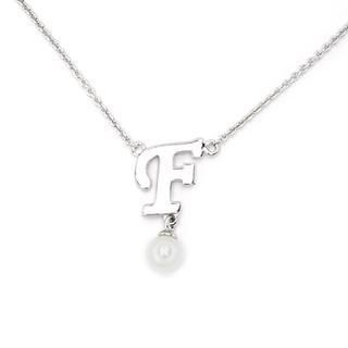 MBLife.com - 925 Sterling Silver Pearl Initial Character Letter Pendant Necklace, 16'