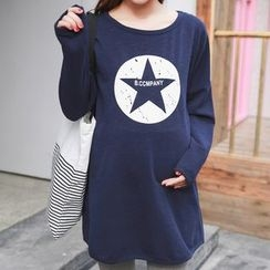 Oulimom - Maternity Star Print Long Pullover