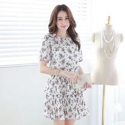 Tokyo Fashion - Short-Sleeve Layered Printed Dress