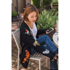 migunstyle - Faux-Pearl Embroidered Cardigan