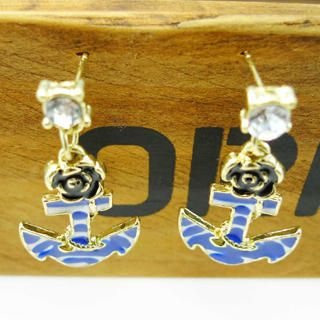 Fit-to-Kill - Anchor Roses Earrings -Blue