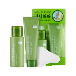Nature Republic - Bamboo Charcoal Nose & T-zone Pack: Toner 33ml + Pack 25ml