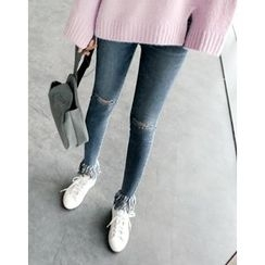 UPTOWNHOLIC - Distressed Frey-Hem Jeans