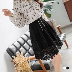 OrangeBear - Floral Crochet Flared Midi Skirt